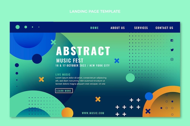 Colorful music festival landing page