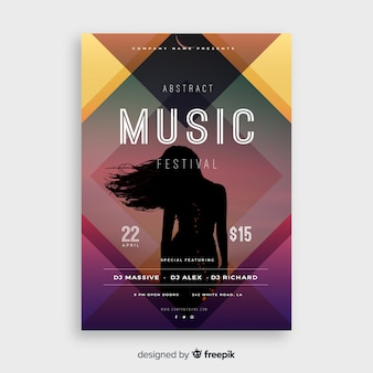 Colorful music festival poster template