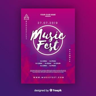 화려한 음악 축제 포스터 템플릿