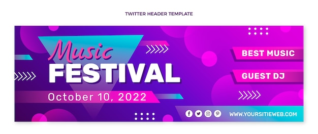 Colorful music festival twitter header