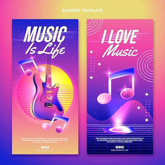Colorful music festival vertical banners