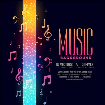 Colorful music flyer party background with notes Free Vector