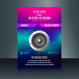 Colorful music flyer with a speaker