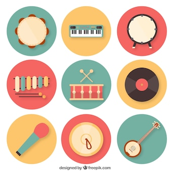 Colorful music instruments collection