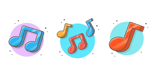 Colorful music note icon  . musical music notes, song, melody and tune white isolated