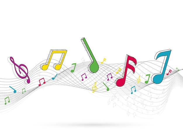 다채로운 음악 노트와 흰색 배경에 추상 웨이브 라인.