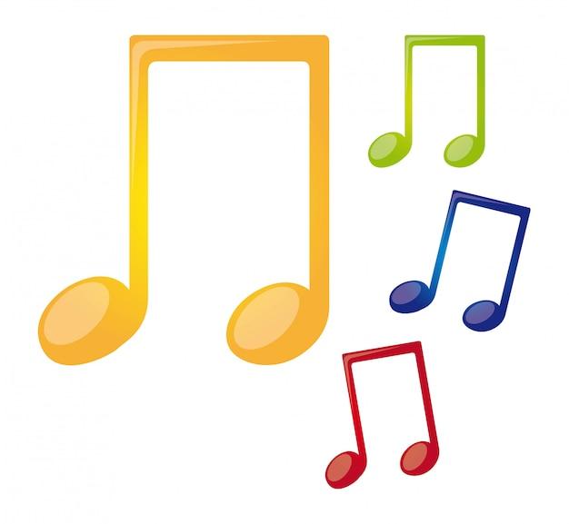 Красочные ноты, изолированных на белом фоне вектор