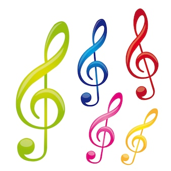Colorful music notes isolated over white background vector