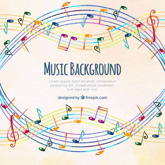 Colorful musical background with pentagram