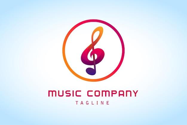 음악 회사에 대한 다채로운 음표 그라데이션 로고