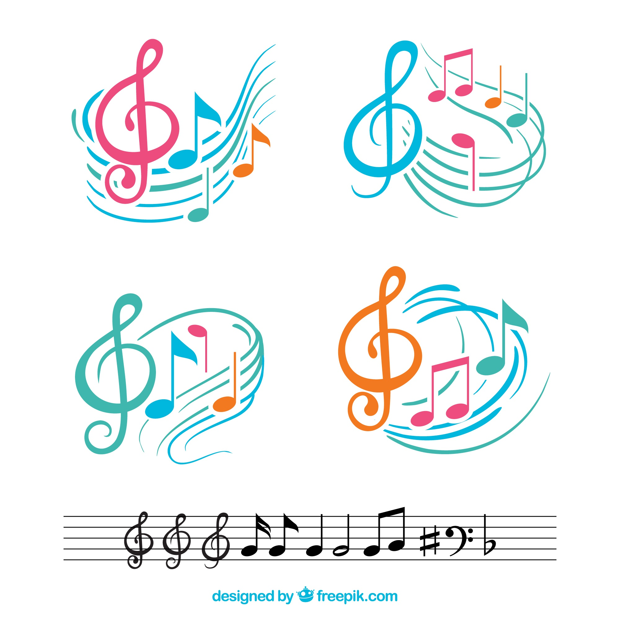 Colorful musical notes with abstract staves