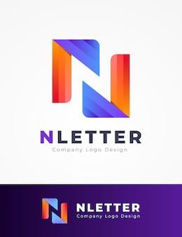 Красочный n письмо дизайн логотипа