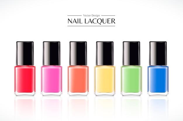 화이트에 3d 그림에서 설정하는 다채로운 네일 래커