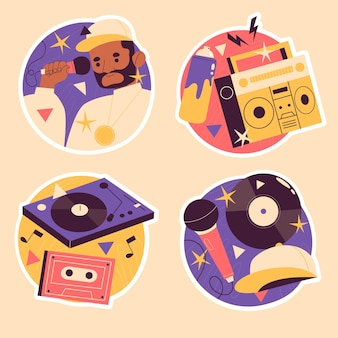Colorful naive hip hop stickers