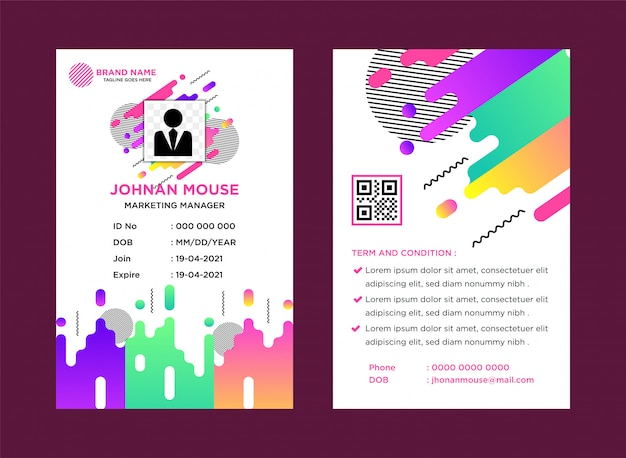 Colorful name tag company template with abstract theme vector illustration.