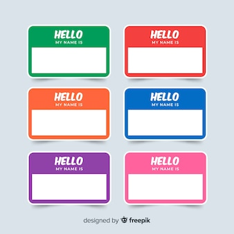 Colorful name tag template collection