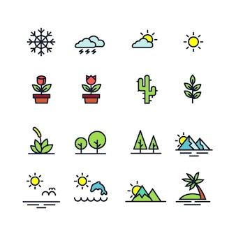 Colorful natural icons on white background