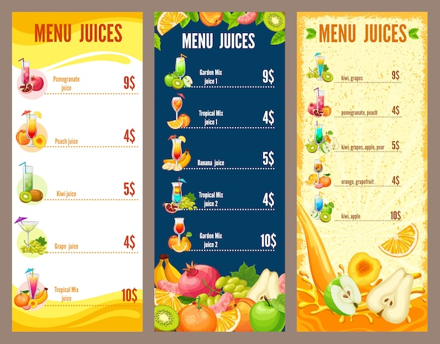 Colorful natural juices menu template