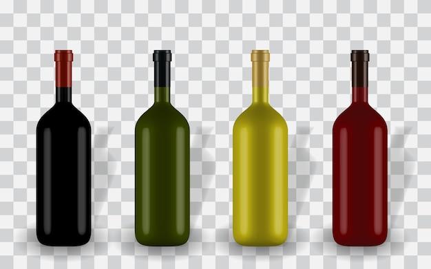 ラベルなしのさまざまな色のカラフルな自然主義的な閉じた3dワインボトル