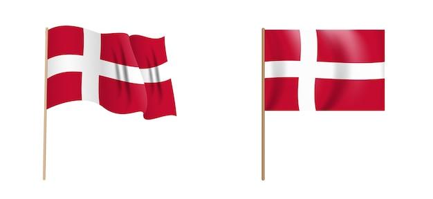 デンマークのカラフルな自然主義的な手を振る旗