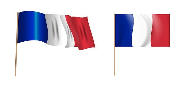 フランスのカラフルな自然主義的な手を振る旗。