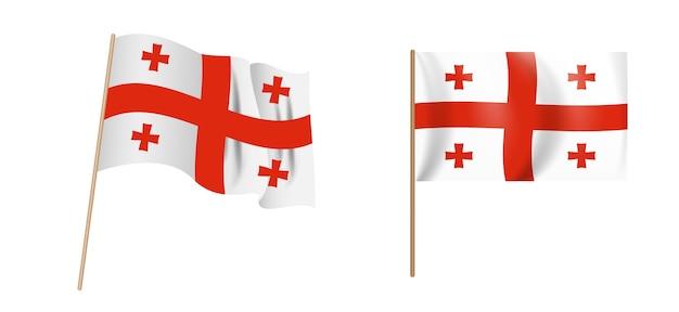 ジョージアのカラフルな自然主義的な手を振る旗。