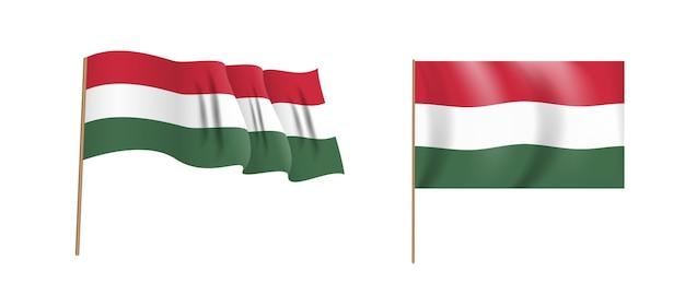 ハンガリーの国のカラフルな自然主義的な手を振る旗。