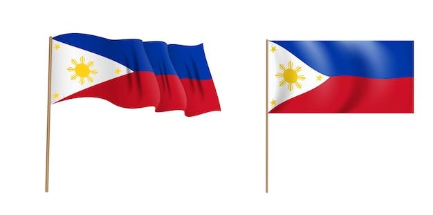 フィリピン共和国のカラフルな自然主義的な手を振る旗。