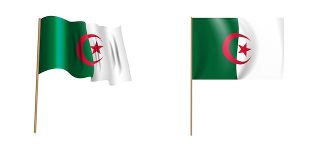 Красочный натуралистический развевающийся флаг алжирской народно-демократической республики.