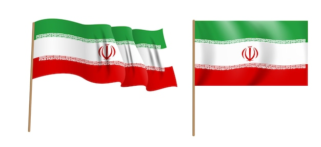 イランイスラム共和国のカラフルな自然主義的な手を振る旗。
