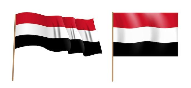 イエメン共和国のカラフルな自然主義的な手を振る旗。