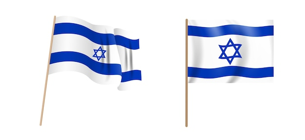 イスラエル国のカラフルな自然主義的な手を振る旗。