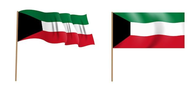 クウェート国のカラフルな自然主義的な手を振る旗