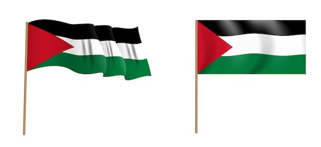 パレスチナのカラフルな自然主義的な手を振る旗。