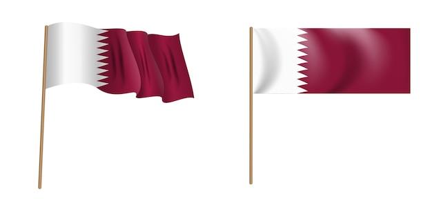 カタール国のカラフルな自然主義的な手を振る旗