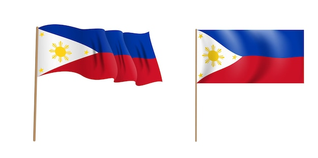 Colorful naturalistic waving flag of republic of philippines.