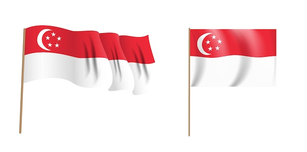 Colorful naturalistic waving flag of republic of singapore.