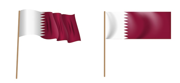 Colorful naturalistic waving flag of the state of qatar
