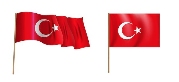 Colorful naturalistic waving flag of turkey.