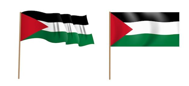 カラフルな自然主義的な手を振るガザ地区の旗。