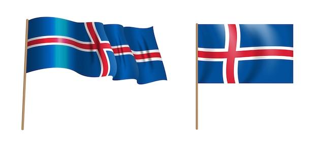 カラフルな自然主義的な手を振るアイスランドの旗。