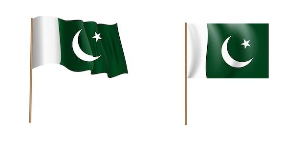 Colorful naturalistic waving pakistan flag.
