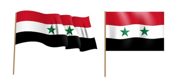 カラフルな自然主義的な手を振るシリアアラブ共和国の旗。