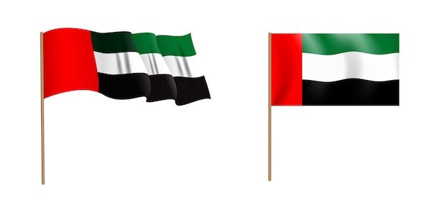 Красочный натуралистический развевающийся флаг объединенных арабских эмиратов.