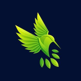 Colorful nature bird logo illustration vector template