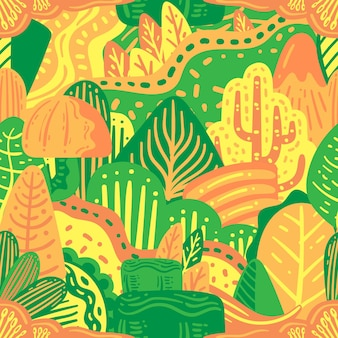 Colorful nature doodle seamless pattern