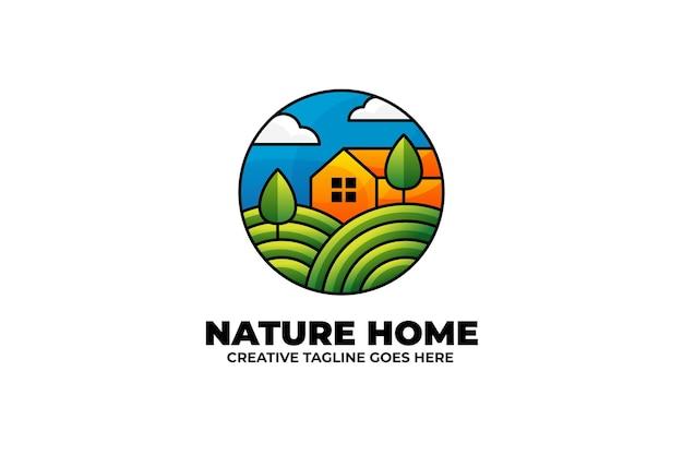 カラフルな自然の家の村の農場のロゴ