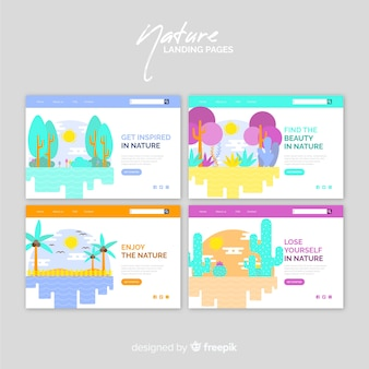 Colorful nature landing page pack