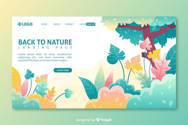 Colorful nature landing page template
