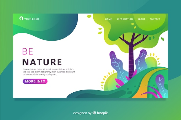 Colorful nature landing page Free Vector